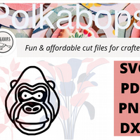 Gorilla monkey zoo safari animal cut file .SVG .PNG .PDF .DXF Cricut Silhoutte