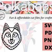 Wolf dog zoo safari animal cut file .SVG .PNG .PDF .DXF Cricut Silhoutte