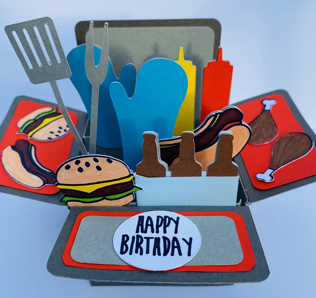 Pop Up BBQ Birthday Box Card - FREE Personalisation FREE postage