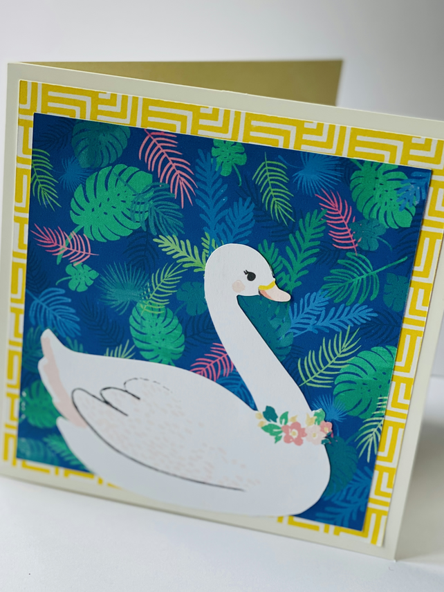 Blank swan card - FREE Personalisation Available