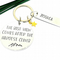Motivational Personalised Keyring. The best view comes after the hardest climb