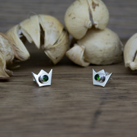 Chrome Diopside Crown Stud Earrings