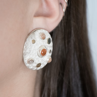 Carnelian Earrings - Moonstone Silver Earrings - Gold detail earrings