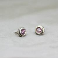 Pink Zircon Stud Earrings