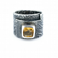 Silver Citrine Statement Ring