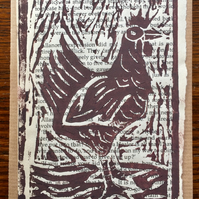 Chicken Lino print recycled Greetings card