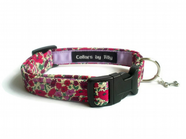 Liberty Print Dog Collar – Poppies & Daisies