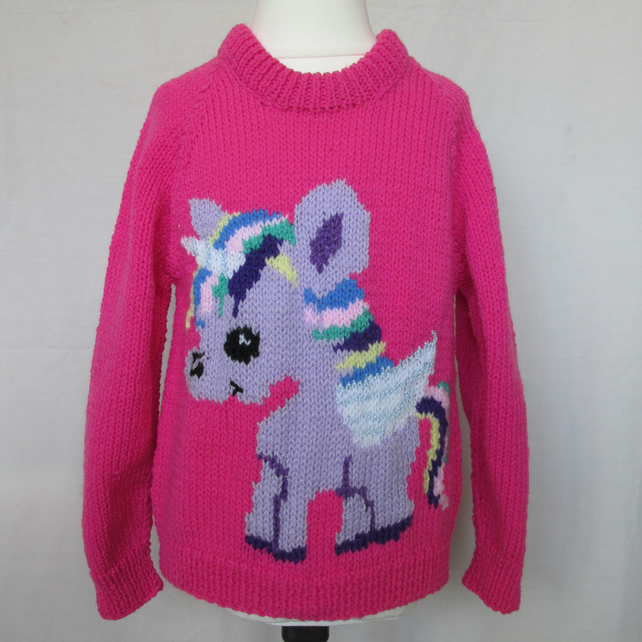 Hand Knitted Unicorn Jumper