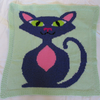 Hand Knitted Purple Cat Lap, Pram or Cot Blanket