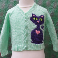 Hand Knitted Purple Cat Cardigan