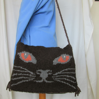 Hand Knitted Cat design Satchel