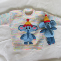 Hand Knitted Doofy The Elephant Jumper and toy