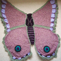 Hand knitted Pink Butterfly Shawl