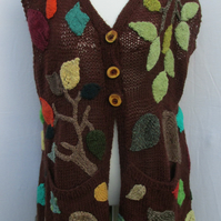Hand Knitted Sleeveless Leafy Cardigan