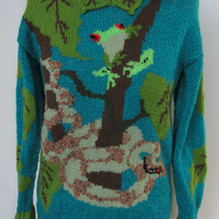 Hand Knitted Frog and Snake in the Forest Jumper
