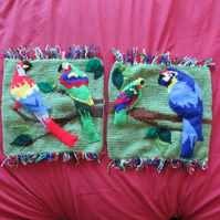 Hand Knitted Parrot Cushion Covers