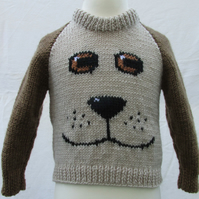 Hand Knitted Puppy Face Jumper