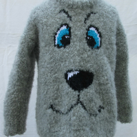 Hand Knitted Grey Poodle Face Jumper