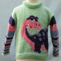 Hand Knitted Pink and Purple Dinosaur Jumper