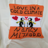 Hand Knitted Love In A Cold Climate Penguin Cushion Cover