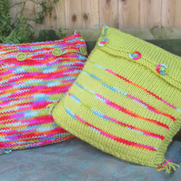 Hand Knitted Zingy Striped Cushion Covers