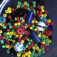 30 grams Multicoloured Mixed Shaped Ceramic Beads