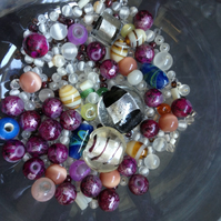 50 grams Multi Coloured Glass Beads Mixed Shapes