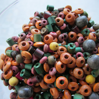 45 grams Multi Coloured multi-shaped Wooden  Beads