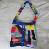 Hand Knitted Bright Abstract Tote School Shopping Bag