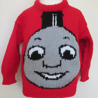 Hand Knitted Red Train Face Jumper - Like James