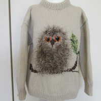 Hand Knitted Fluffy Owl  Jumper