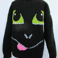Hand Knitted Black Dragon - like Toothless child's jumper