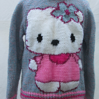 Hand Knitted Kitty  Jumper