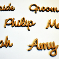 Name place settings custom personalised laser cut wedding event