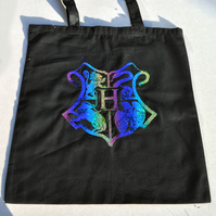 Harry Potter Inspired Hogwarts Black Rainbow Tote Bag