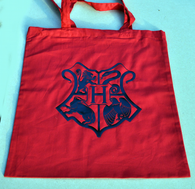 Harry Potter Inspired Hogwarts Crest Pink Tote Bag