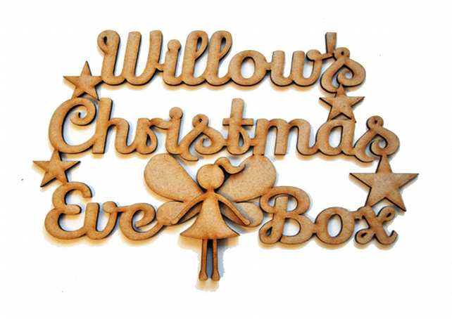 Personalised 3D Wooden Christmas Eve Box Topper Fairy Sign 3mm MDF Laser Cut