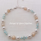 Mint and lemon pearl and crystal and pearl silver plated bracelet
