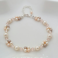 Cream, Peach and Brown Swarovski Crystal and Pearl Silver Plated Bracelet