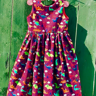 Dinosaur dress for dino fans - sleeveless part dress for special occasion