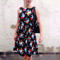 Handmade Vintage inspired women's dress- 50's rockabilly party dress.