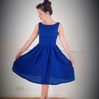 Royal Blue party dress- vintage indpired womens clothing - linen dress