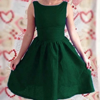 Bottle green 50's vintage inspired dress- bridesmaid dress - linen casual dress