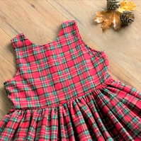 Christmas Tartan dress- party wear sleeveless dress- flare rockabilly style