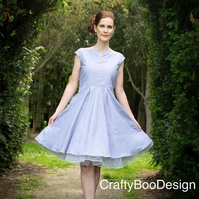 Cap sleeve Vintage inspired 50's linen dress - made to measure swing dress