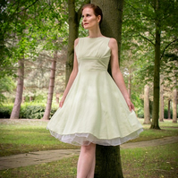 50's vintage inspired swing dress- bridesmaid dress - linen casual dress