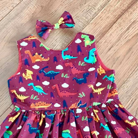 Dino party dress 5-6 years
