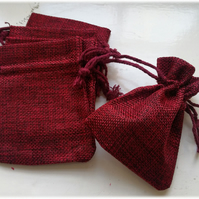 10 Red Jute Linen Hem Jewelry Pouches Bags, Favor Gift Bags,3.15x4inches(8x10cm)