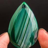 Green Stripe Agate Waterdrop Drilled Pendant Bead Stone - 7091
