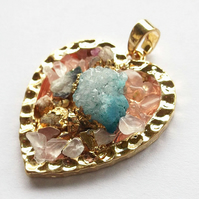Ice Quartz Agate with Heart gold plated druzy style Pendant -2